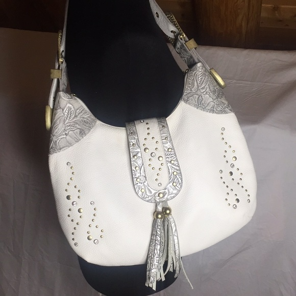 Charm and Luck Handbags - Charm and Luck white leather rhinestone purse 👜